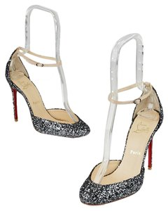 Christian Louboutin Glitter Heels Sparkles Patent Leather Silver Pumps