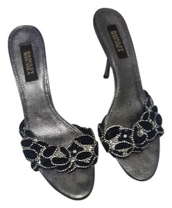 Badgley Mischka Embellished Leather Evening pewter Sandals