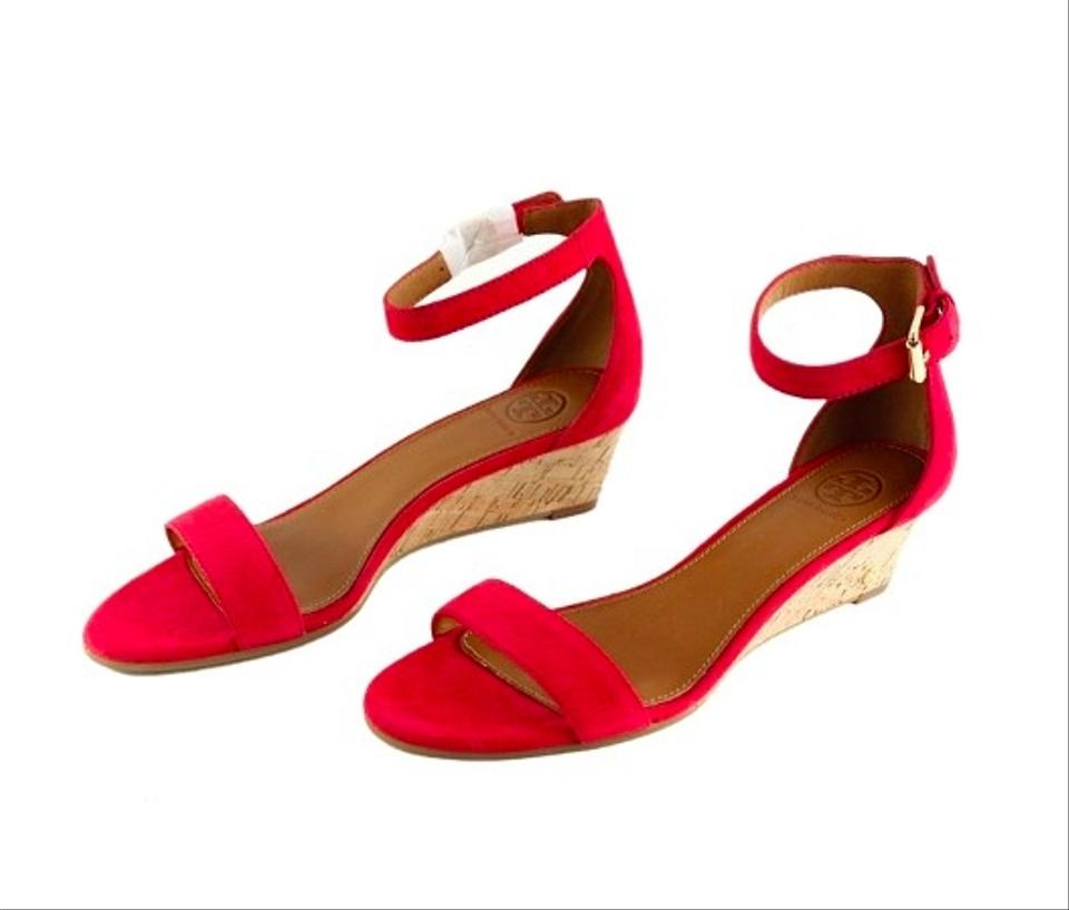 c4580c1cc Tory Burch Carnival Red Savannah 45mm Soho Lux Suede Wedge Sandals ...