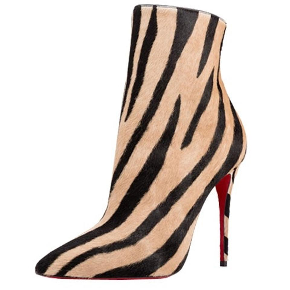Christian Louboutin Black Zebra and Tan Ponyhair So Zebra Black Boots/Booties bfeeee