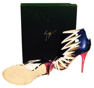 Giuseppe Zanotti New, Metallic pink, blue, and white Sandals