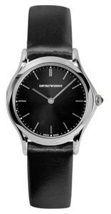 Emporio Armani Emporio Armani Swiss ARS7012 Black Sunray Dial & Leather Strap Watch