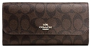Coach F52681 New Coach Signature PVC Checkbook Wallet Brown/Black