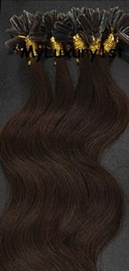 Medium Brown U Tip Hair Extensions Body Wave 100 Strands 50 Grams
