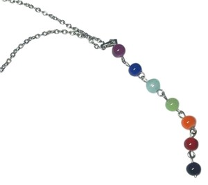 Other Silver Tone Chakra Beaded Necklace Pendant & Chain N1001