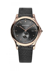 Emporio Armani Emporio Armani Swiss ARS1003 Men's Gray Dial Lizard Rose Gold Watch