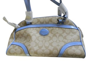 Coach Satchel in light khaki and sky blue