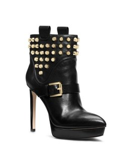 Michael Kors Studded Leather Suede Gold Platform Black Boots