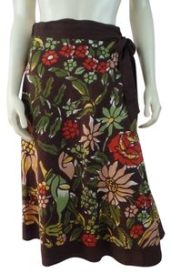 Lucky Brand Wrap Floral Boho Small A-line Skirt Brown, Green, Red, Yellow