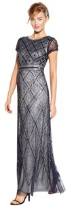Adrianna Papell Art Deco Cap Sleeve Mesh Dress