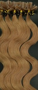 Light Golden Brown Utipped Fusion Human Hair Extensions Body Wavy
