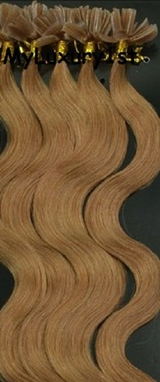 MyLuxury1st Light Golden Brown Utipped Fusion Human Hair Extensions Body Wavy