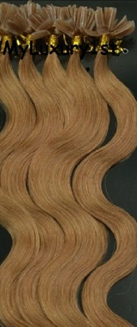 Item - Light Golden Brown Utipped Fusion Human Hair Extensions Body Wavy