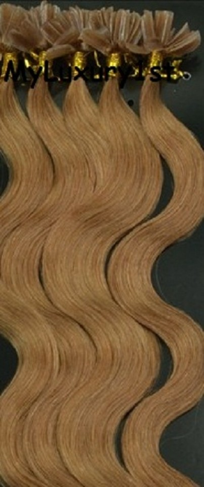 Myluxury1st Light Golden Brown Utipped Fusion Human Hair Extensions