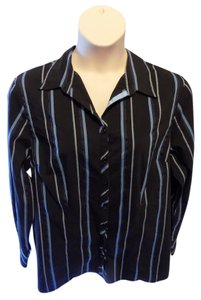 Cato Plus-size Striped Classic Button Down Shirt Black and Blue