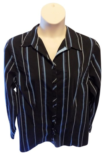 2ea2caaf5736c Cato Black And Blue Classic Stripe Shirt Long Sleeve Plus Size Button Down  Shirt free shipping