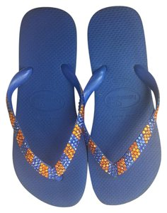 Lori Jack Swarovski Flip Flops Blue and Orange Sandals