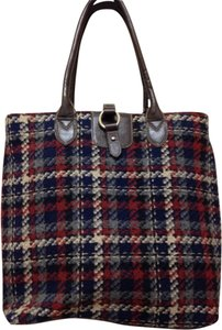 not named Fabric And Leather Faux Trim Wool Tan Leather Faux Trim Tote in Navy Brown Oxblood Plaid