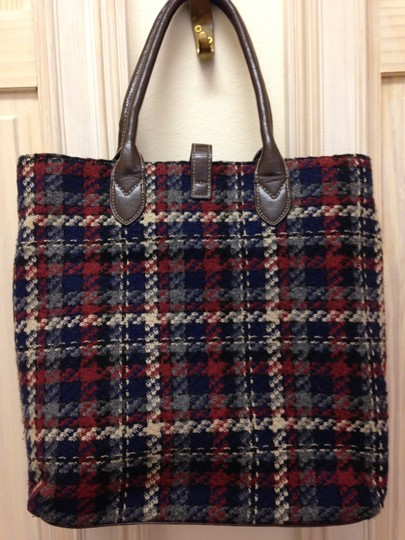 not named Tote Fabric And Leather Faux Trim Wool Tan Leather Faux Trim Tote in Navy Brown Oxblood Plaid