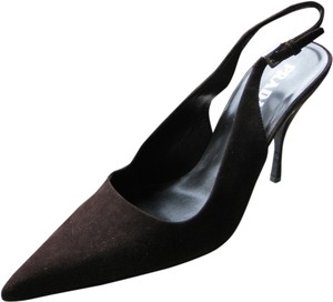 Prada Suede Pointed Toe Slingback Stiletto Brown Pumps