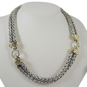 Zina Eva Sterling Silver 18K Yellow Gold Wheat Necklace Vintage Zina