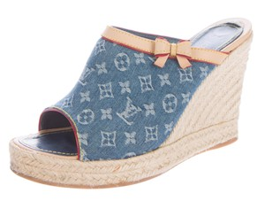 Louis Vuitton Denim Platform Gold Hardware Blue, Beige Wedges