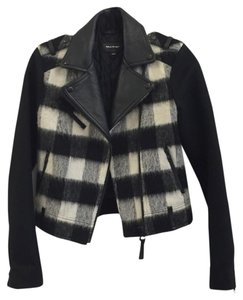 Mackage Plaid Leather Motorcycle Jacket