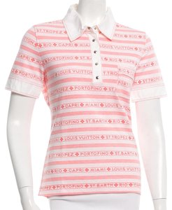 Louis Vuitton Monogram Cotton Lv Short Sleeve Logo T Shirt Pink, White