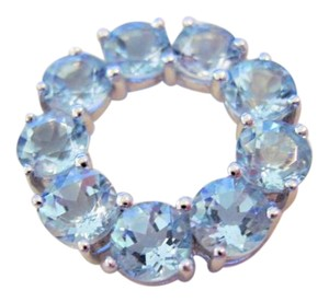 Other 3.3 CTw 5 mm Round Aquamarine Circle Pendant, 10 KT WG