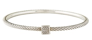 David Yurman Sterling silver David Yurman Pave diamond cable bangle