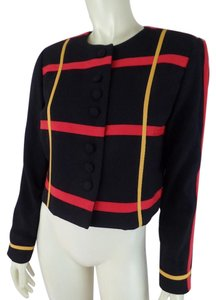 Gilligan & O'Malley Wool Shorty Crop Vintage Thin Black, Red, Yellow Blazer