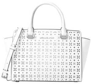 Michael Kors Satchel in White / Silver