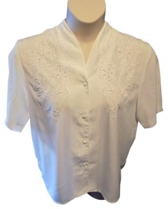 Kathy Che Career Solid Short Sleeve Top Ivory