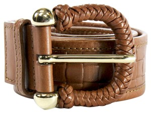 Burberry BURBERRY Brown Belt with Woven Leather Gold Buckle