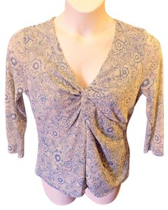 Liz Claiborne Stretchy V-neck Casual Pullover 3/4 Sleeve Top Blue and Beige