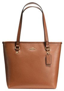 Coach Exterior Zip Pocket Tote in Saddle Brown