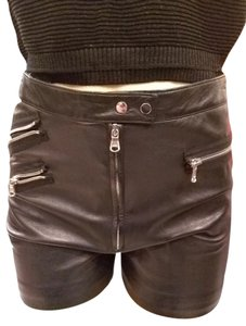3.1 Phillip Lim Leather Designer Mini/Short Shorts Black