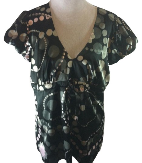 0032a789906db2 Express Classic Short Sleeve Button Front Multi-color Print Tunic durable  service