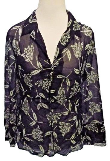 The Limited Black And White Modern Updated Sheer Silk Floral Print Top 70%OFF