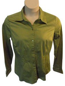 Geoffrey Beene Solid Longsleeve Stretch Button Down Shirt Olive Green