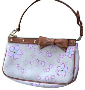 Louis Vuitton Wristlet in Beige with pink flower petals and yellow happy faces
