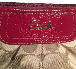 Coach Wristlet in Tan And Red