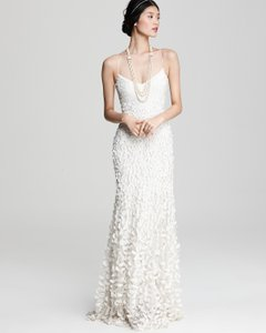 Theia Ivory/White Silk Sleevless Petal Gown Destination Wedding Dress Size 8 (M)