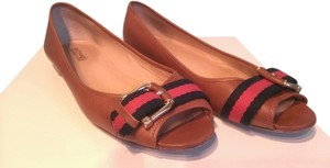 Michael by Michael Kors Chestnut leather, canvas navy and red stripe across toe Flats