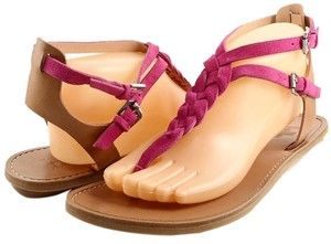 Belle by Sigerson Morrison Rank Designer Flats Fuchsia Tan Sandals