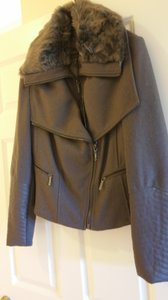 BCBGMAXAZRIA Bcbg Burgundy Coat Fur Grey Leather Jacket