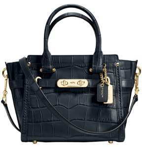 9759b38994 Coach Swagger 21 Carryall In Croc Embossed Light Gold Navy Leather Satchel