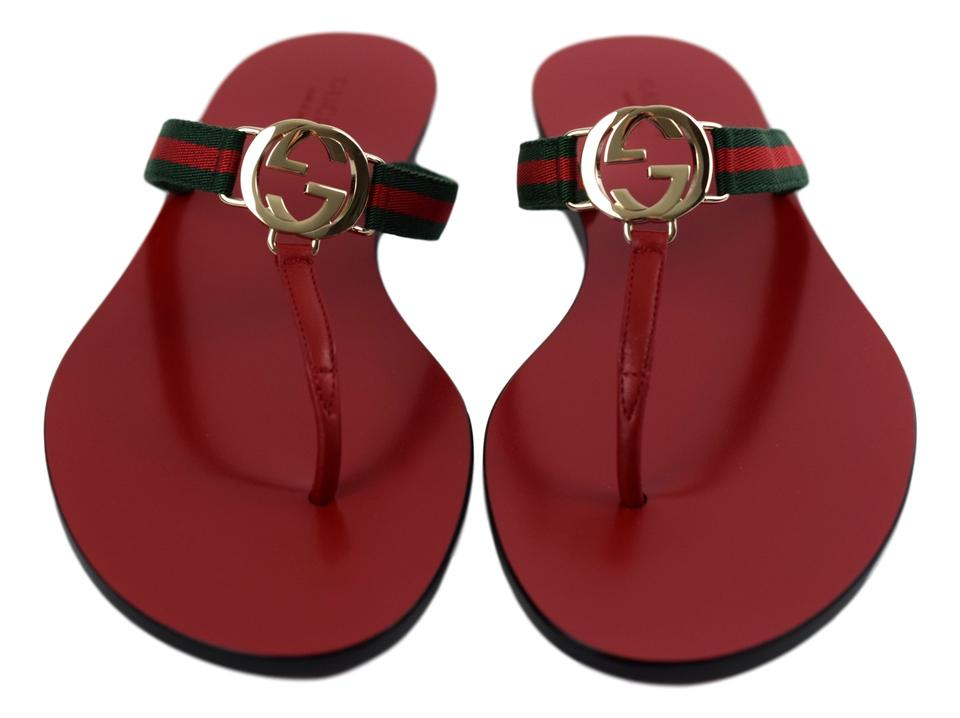 ee24c1a82 Gucci Red Gg Thong Web with Gold Emblem Sandals Size US 9.5 Regular ...