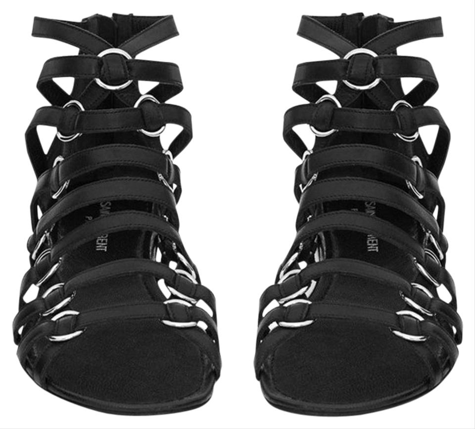 0d7782e9efc Saint Laurent Black Ysl Nina Leather Gladiator Strappy 36 Sandals ...