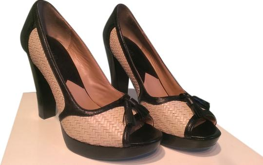MICHAEL Michael Kors Black leather and woven cream leather Platforms